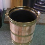 Solid wood and Brass Coal Barrel